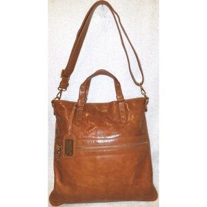 Caramel leather convertible handbag